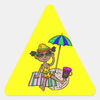 Girl On Beach Triangle Sticker