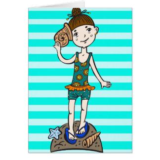 Girl On Beach With Seashell Card
