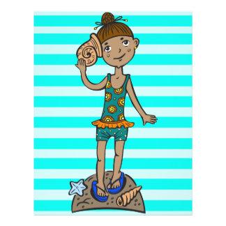 Girl On Beach With Seashell Flyer
