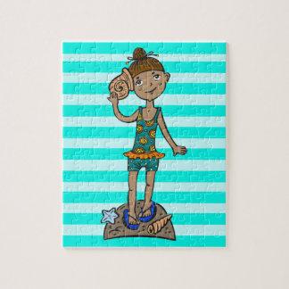 Girl On Beach With Seashell Jigsaw Puzzle