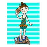 Girl On Beach With Seashell Postcard