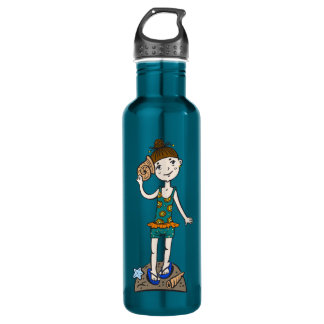 Girl On Beach With Seashell Stainless Steel Water Bottle