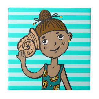 Girl On Beach With Seashell Tile