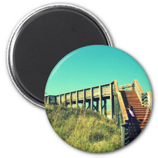 Girl on boardwalk Florida Gulf Coast Beach Refrigerator Magnet