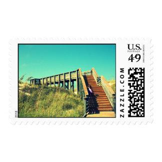Girl on boardwalk, Florida Gulf Coast Beach Postage Stamp