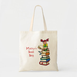 Girl on Books Canvas Bags