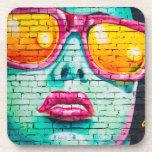 Girl on Brick Wall Beverage Coaster
