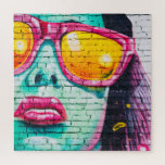 Girl on Brick Wall Jigsaw Puzzle