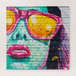 Girl on Brick Wall Jigsaw Puzzle