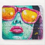 Girl on Brick Wall Mouse Pad