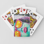 Girl on Brick Wall Playing Cards