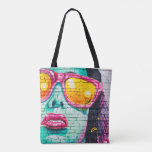 Girl on brick Wall Tote Bag