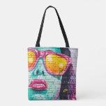 Girl on brick Wall Tote Bag