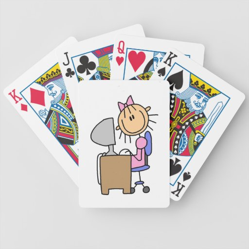 Girl on Computer Bicycle Card Deck