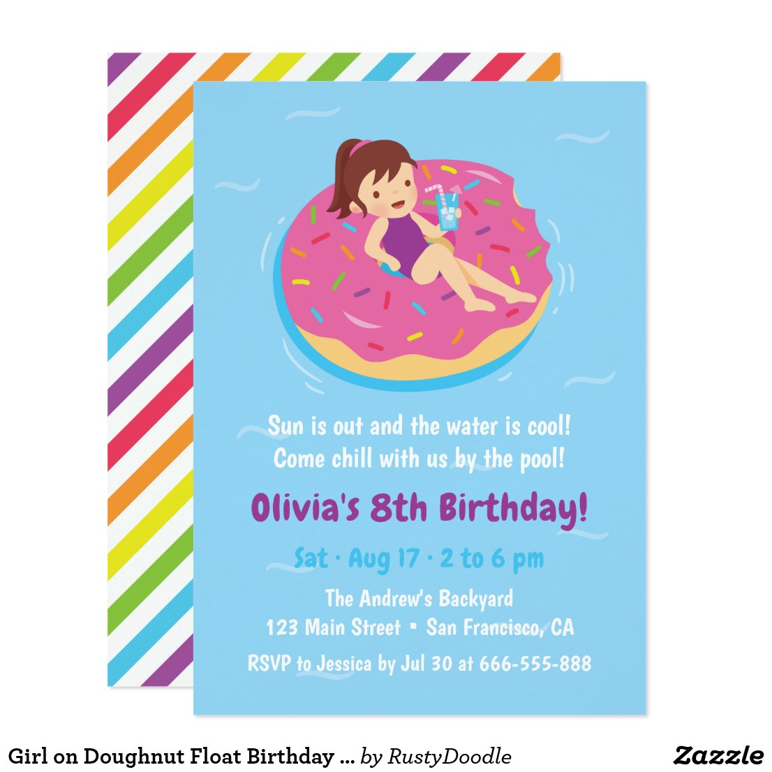 Girl on Doughnut Float Birthday Party Invitations