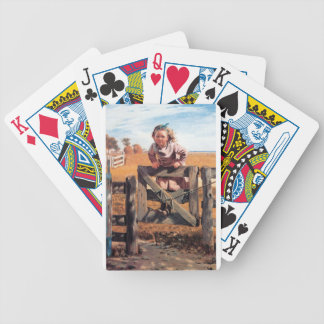 Girl on Fence Gate Playing Cards