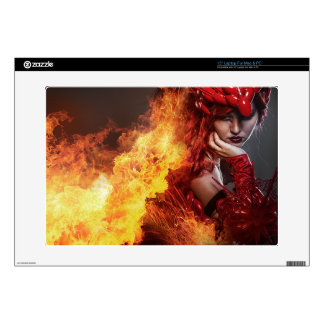 "Girl on fire, Steampunk, beautiful woman dressed i 15"" Laptop Skins"