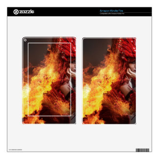Girl on fire, Steampunk, beautiful woman dressed i Decals For Kindle Fire