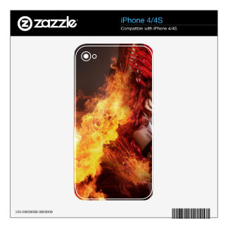 Girl on fire, Steampunk, beautiful woman dressed i Skin For The iPhone 4S