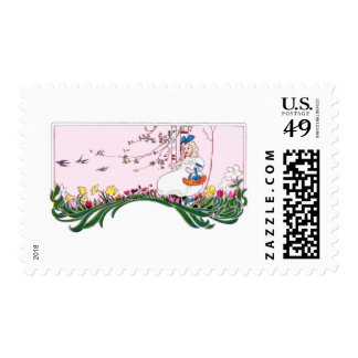 Girl on Flowering Hill in Spring Postage