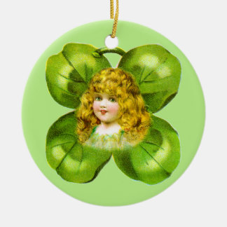Girl on Giant Shamrock Vintage St. Patrick's Day Ceramic Ornament