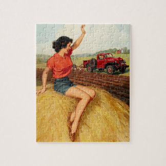 Girl on Haystack Pin Up Art Jigsaw Puzzle