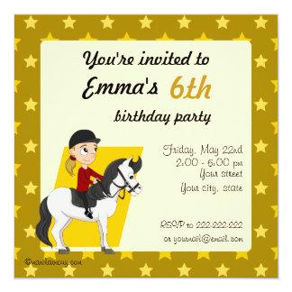 Girl on horse cartoon birthday print invites