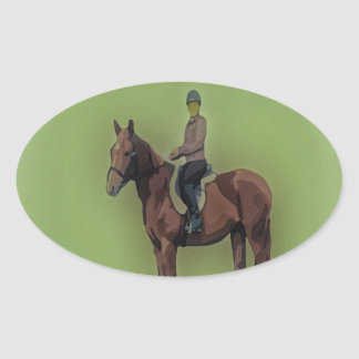 Girl on horse oval sticker