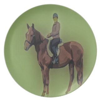 Girl on horse party plate