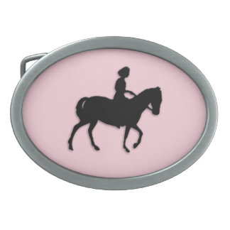 Girl on Horse / Pony Pink Oval Belt Buckle