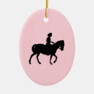 Girl on Horse / Pony Pink Ceramic Ornament
