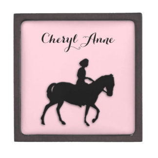 Girl on Horse / Pony Pink Name Gift Box