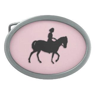 Girl on Horse / Pony Pink Oval Belt Buckle