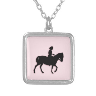 Girl on Horse / Pony Pink Silver Plated Necklace