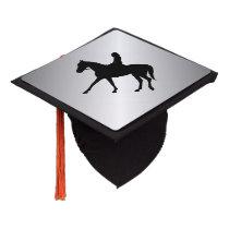 Girl on Horse Silver Graduation Cap Topper