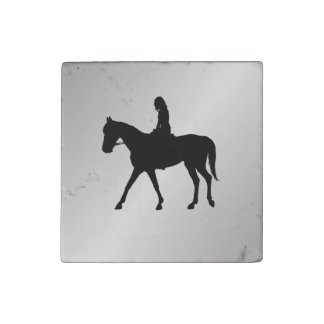 Girl on Horse Silver Stone Magnet