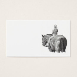 Girl on Horseback Business Card Pencil Art