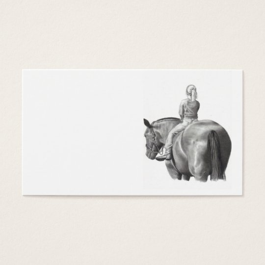 Girl on Horseback Business Card Pencil Art