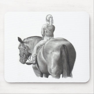 GIRL ON HORSEBACK: PENCIL ART: REALISM MOUSE PAD