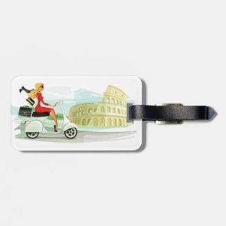 Girl on in Rome Keychain Luggage Tag