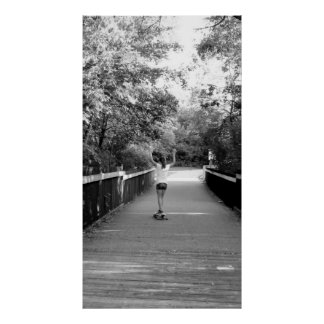 Girl on Longboard Poster