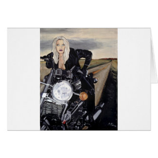 girl on motercycle card