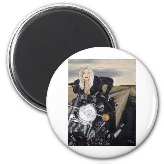girl on motercycle magnet