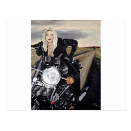 girl on motercycle postcard