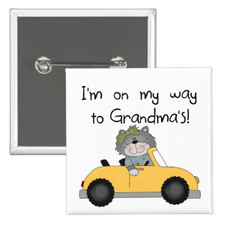 Girl - On My Way to Grandmas Tshirts and Gifts 2 Inch Square Button
