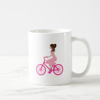 Girl on Pink Bike wearing a Pink Polka Dot Dress Coffee Mug