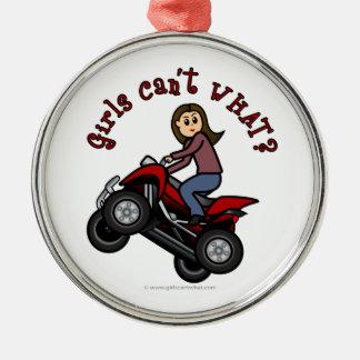 Girl on Red Four Wheeler Ornament