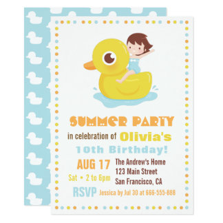 Girl on Rubber Duck Pool Float Kids Birthday Party Card