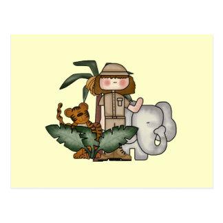 Girl on Safari Tshirts and Gifts Postcard