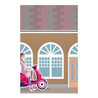 Girl on Scooter stopped by the building Stationery